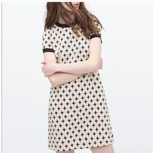 Zara Jacquard Shift Dress Short Sleeve